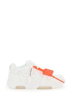 Sneakersy białe -pomarańczowa plomba
