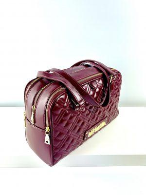 Bordowa torebka kuferek LOVE MOSCHINO