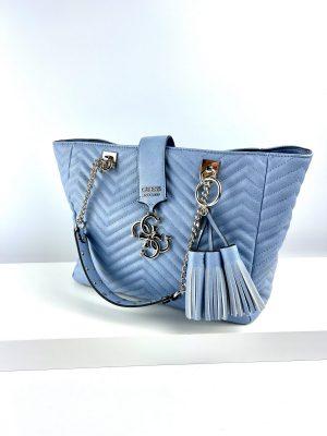 Błękitna torebka shopperka GUESS